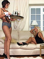 Getting ready for a party, sexy games with a waitress