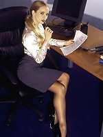 Naughty Secretary In Sexy Stockings Strips After Work